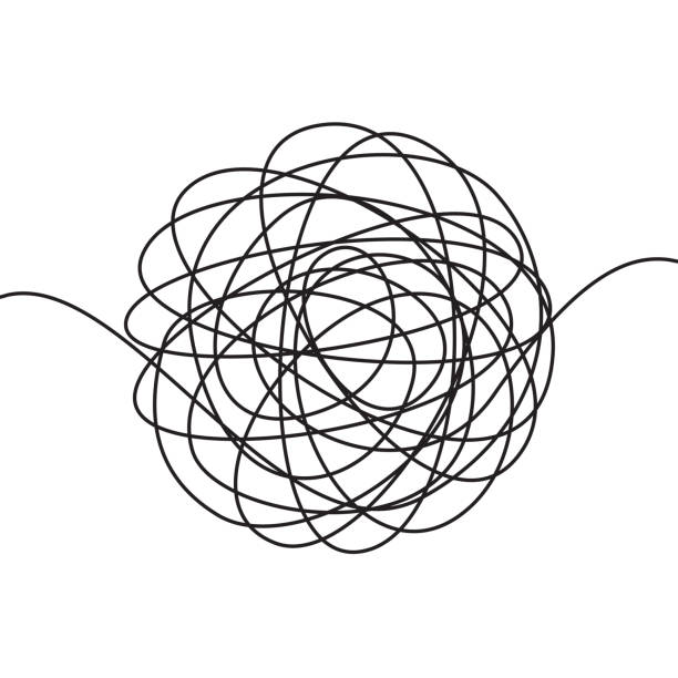 Hand drawn scrawl sketch or black line spherical abstract scribble shape. Vector chaotic doodle circle drawing circles or thread clew knot isolated on white background